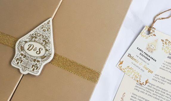 Gold & Cream Double Hardcover Wedding Invitation