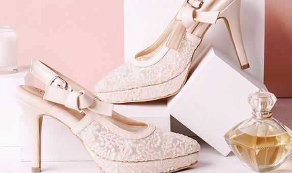 Sepatu Slingback Lacie High Krem