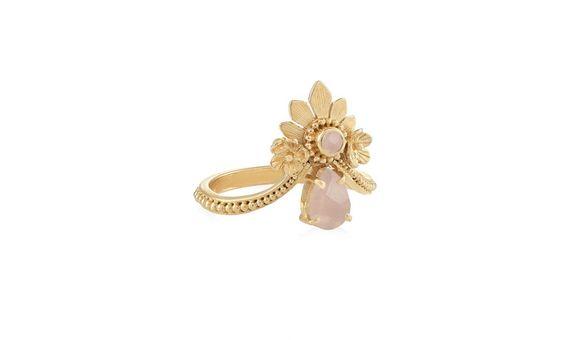 Mahkota Ring Rose Quartz Gold Dip