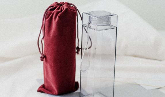 Clear Square Acryllic Bottle + Pouch