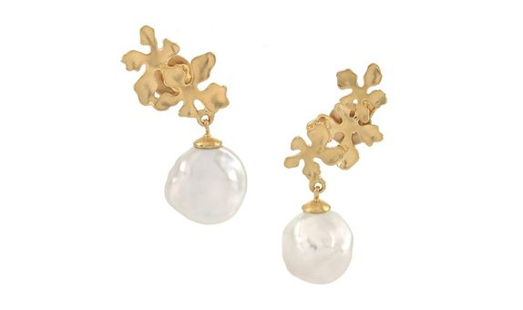 Flora Nirwana Baroque Drop Earrings Gold Dip