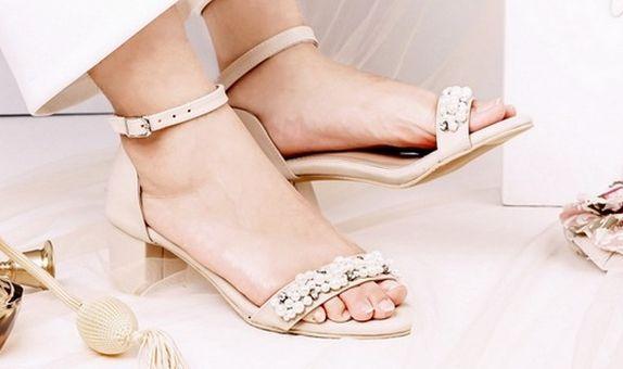 Sandal Ankle Strap Pearl Cream