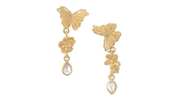 Butterflies and Dew Drops Double Drop Earrings Gold Dip