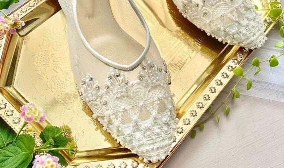 Ellie White Wedding Shoes Women Flats 1.5cm