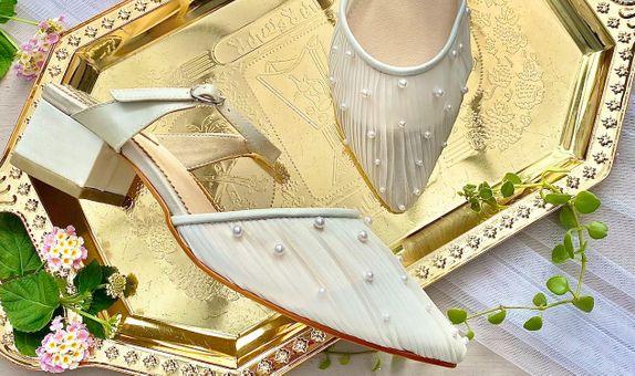 Runa White Wedding Shoes Women Block Heels 5cm