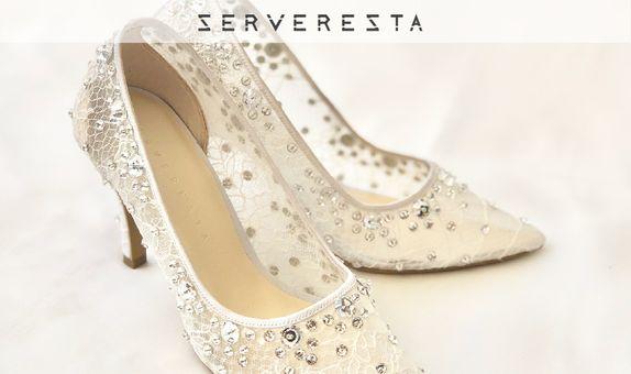 VINETTE - WHITE - Floral Brocade - 9cm - Bride Shoes - Party Shoes
