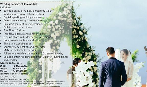 Wedding Package at Kamaya Bali for 50 pax