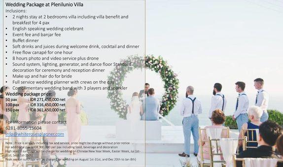 Wedding Package at Plenilunio Villa for 100 pax