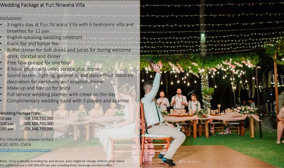 Wedding Package at Puri Nirwana Villa for 100 pax