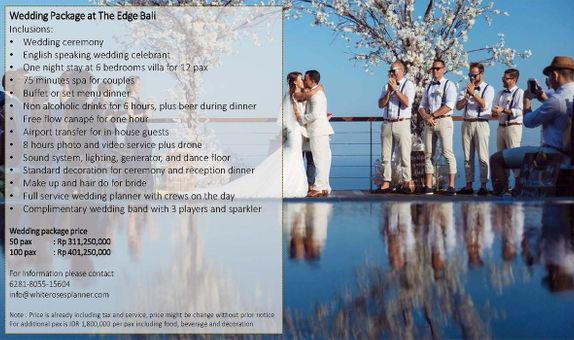 Wedding Package at The Edge Bali for 50 pax