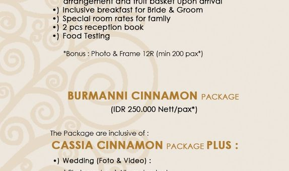 Wedding Package Cinnamon Hotel Boutique