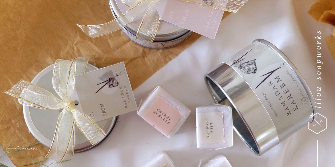 mini artisan bar soap tin packaging in store