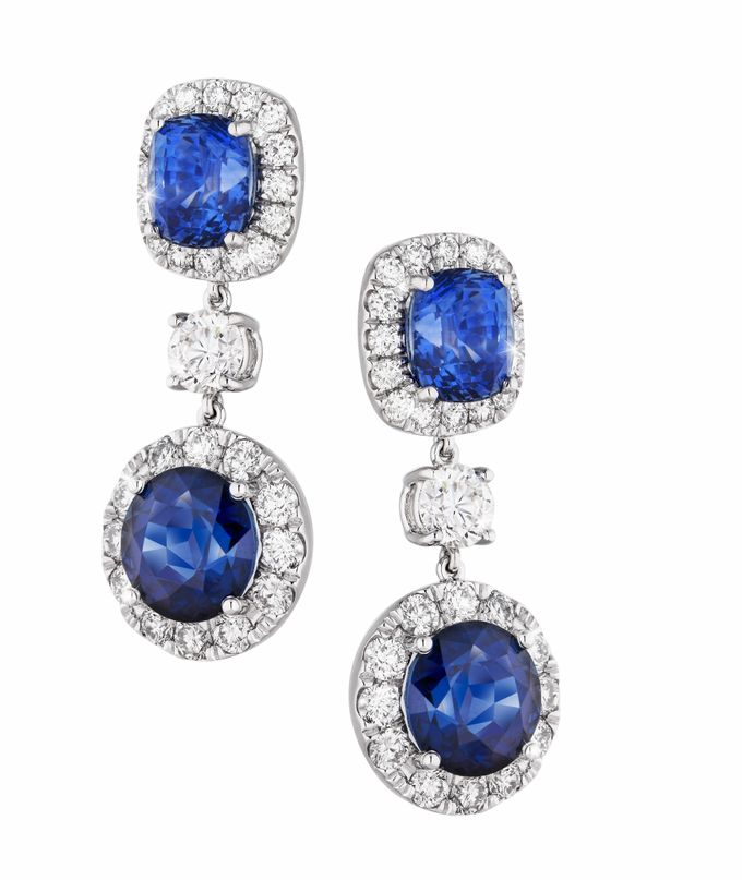 Bespoke Unheated Sapphire Wedding Earrings by Heritage Gems