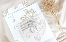 Floral single board invitation by mille paperie bridestory asct baby breath invitation stopboris Images