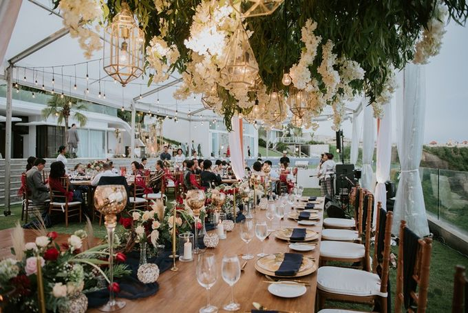 Burgundy & Navy Blue Wedding Decoration by Bali Izatta Wedding Planner & Wedding Florist Decorator - 008