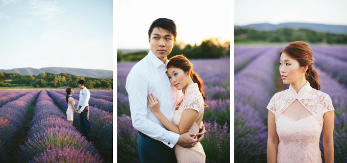 French engagement shoot in Provençal lavender fields by M&J Photography - 001