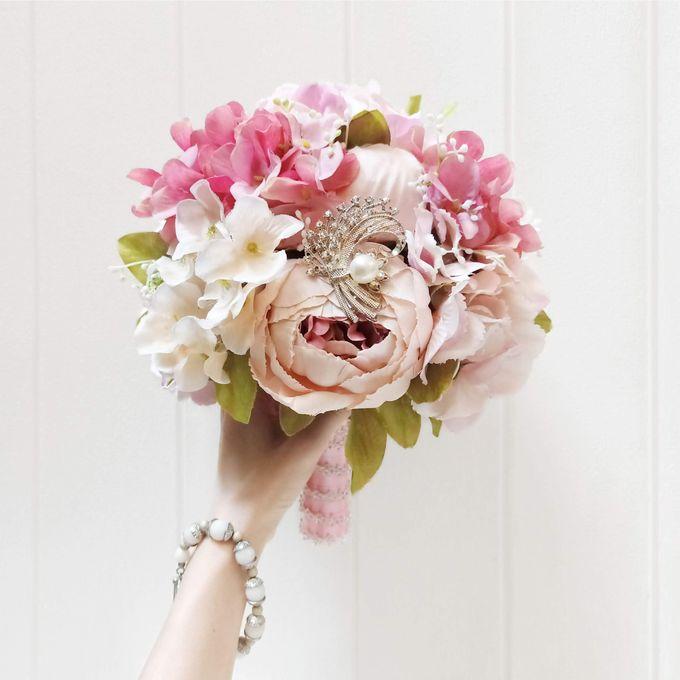 Artificial Wedding Hand bouquet - Pink Peony by raia_fleurs - 001