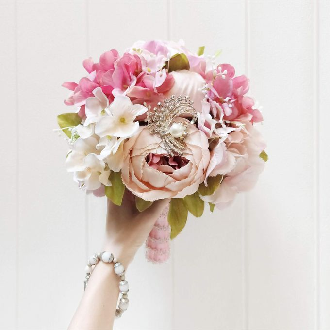 Artificial Wedding Hand bouquet - Pink Peony by raia_fleurs - 003