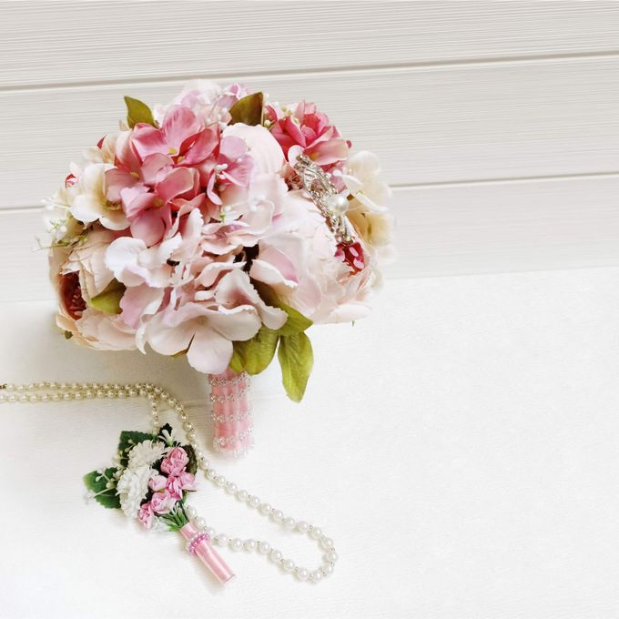 Artificial Wedding Hand bouquet - Pink Peony by raia_fleurs - 004