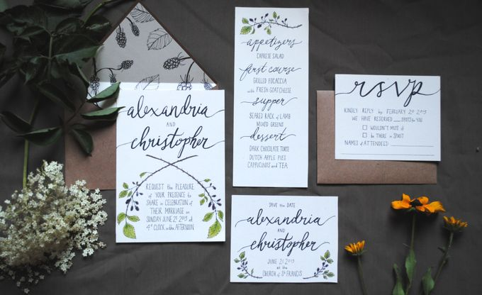 Rustic Blackberry Wedding Invitations by Blue Laurel Paper Company - 001