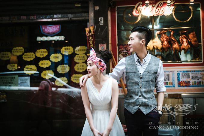 Bustling Street of Hong Kong by Cang Ai Wedding - 001