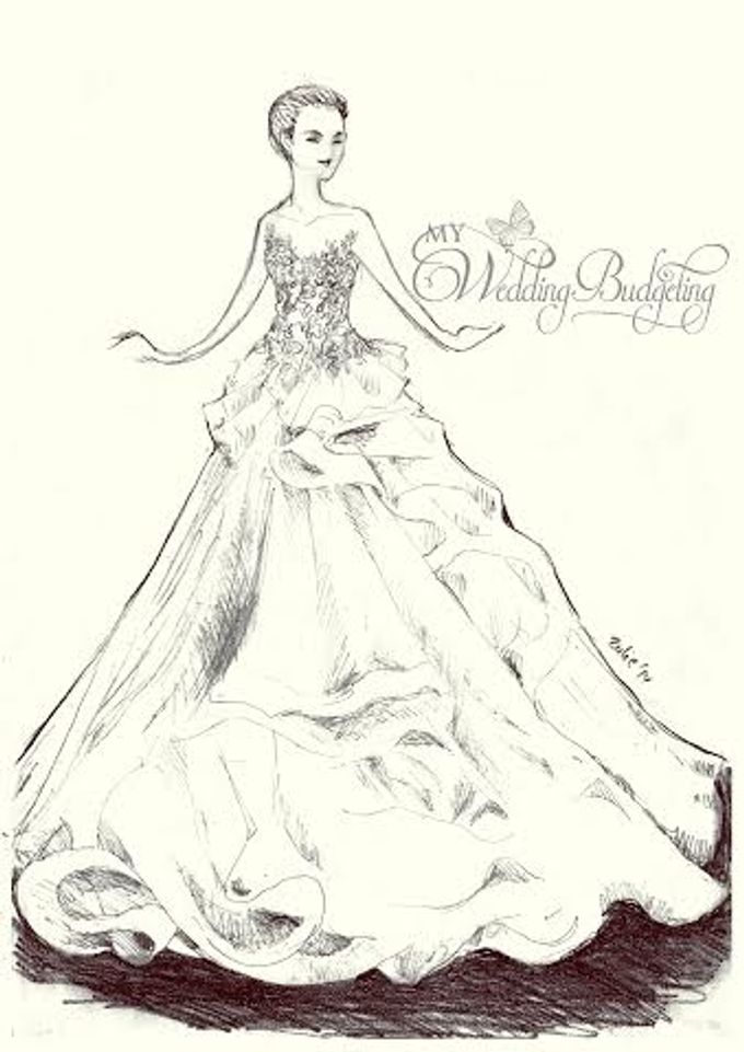 Add To Board Wedding Gown Sketch By MyWeddingBudgeting Prewed Gowns New Custom Made For Rent