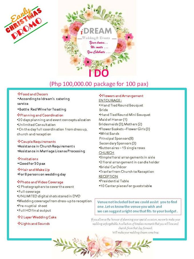 Early Christmas Promo I Do 100k Package By Idream Wedding Events Bridestory Com