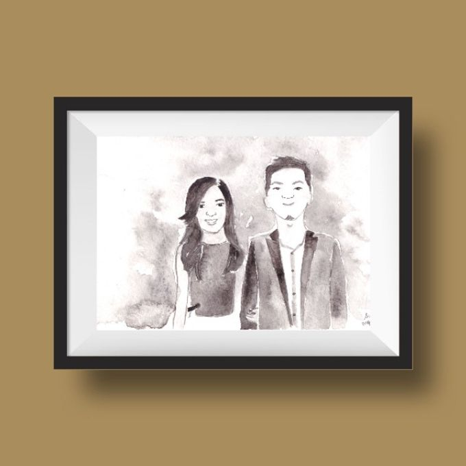 Portrait or Couple Illustration by By Kartika Drawing - 001