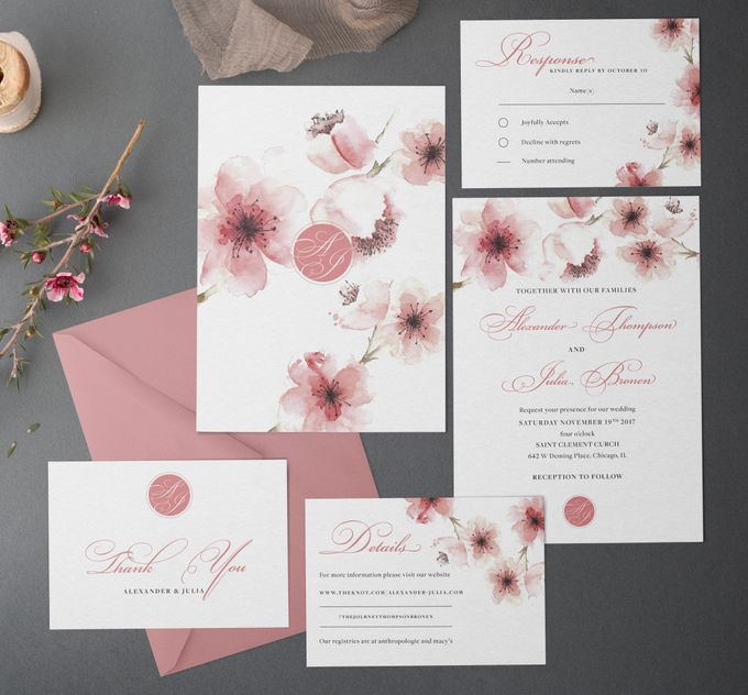 Cherry Blossom by Trouvaille Invitation - 001