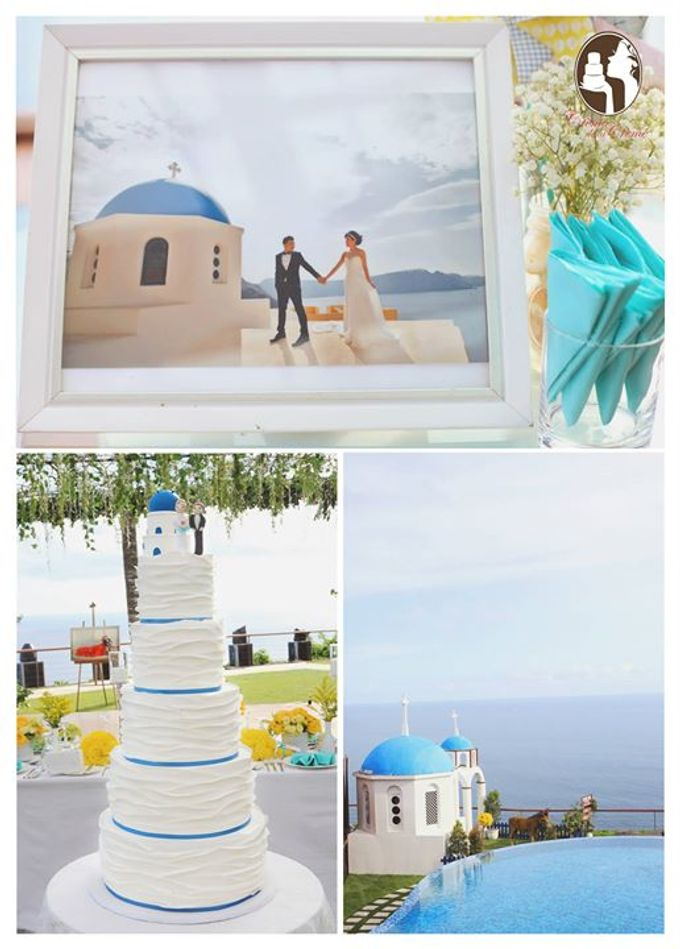 Santorini Inspired Wedding cake by Creme de la Creme Bali - 001