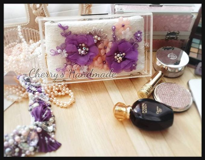 Personalized Clear Clutch & Flowery Lacey Pouch by Cherry's  Handmade - 002