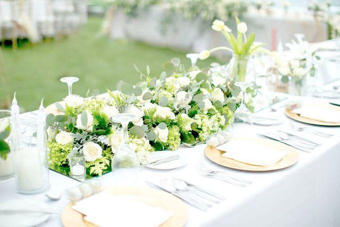 White Green and Gold Elegant Wedding at Latitude Villa by Flora Botanica Designs - 001