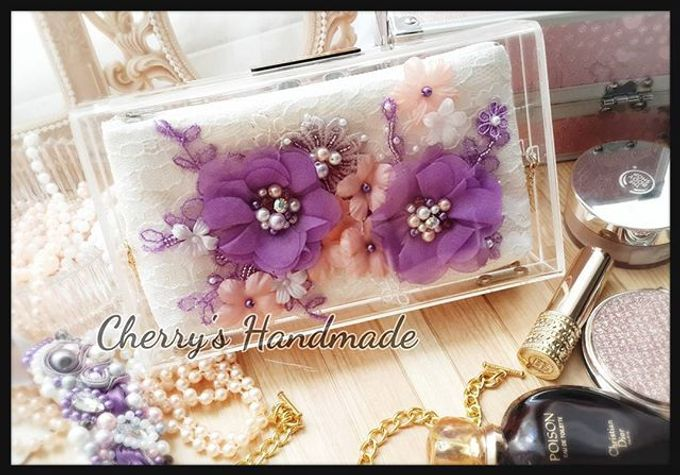 Personalized Clear Clutch & Flowery Lacey Pouch by Cherry's  Handmade - 001