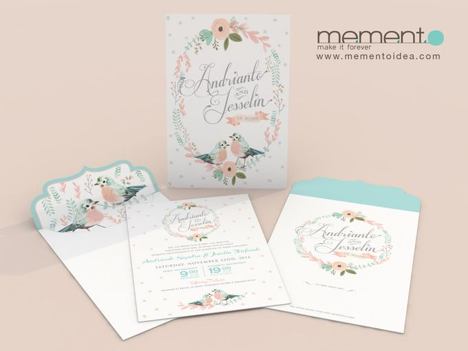 Floral Bird Wedding Card by Memento Idea - 005