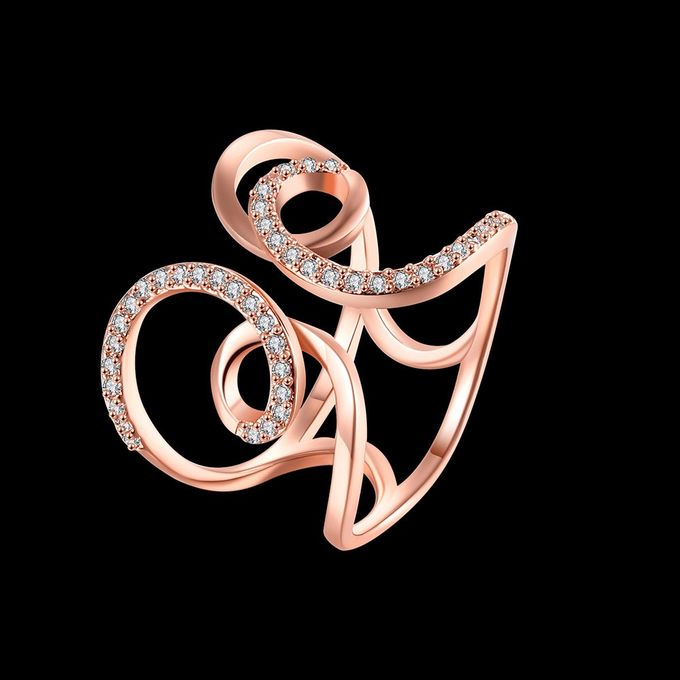 TIARIA Diamond Curly Gold Ring Perhiasan Cincin Emas Berlian by TIARIA - 004