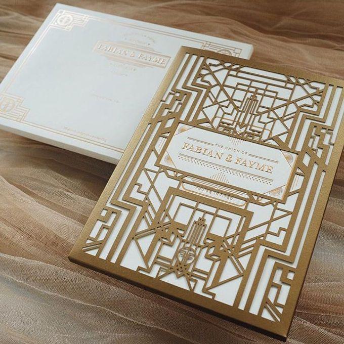 intricate art deco laser cut invite by tapestry invitation