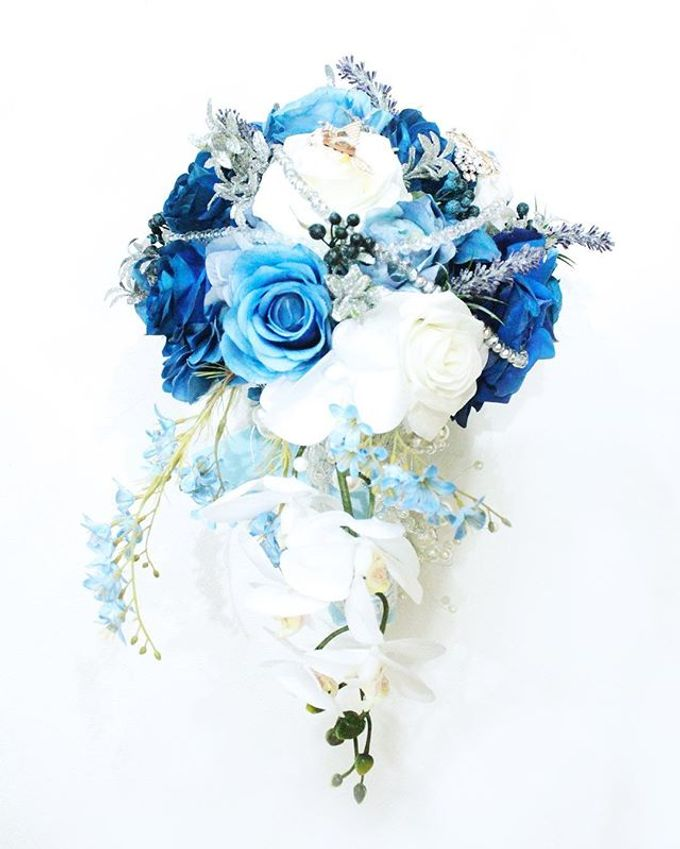 Royal Blue Cascade Hand Bouquet by Cup Of Love Design Studio - 001