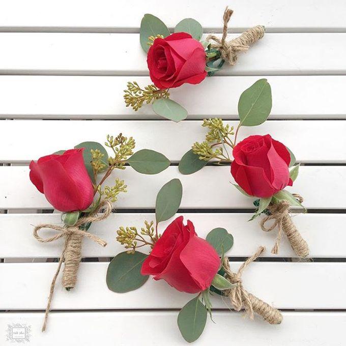 Bridesmaid bouquet, corsage and Floral Crown by Petite Fleur SG - 006