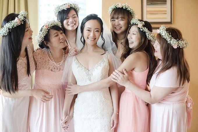 Bridesmaid bouquet, corsage and Floral Crown by Petite Fleur SG - 004