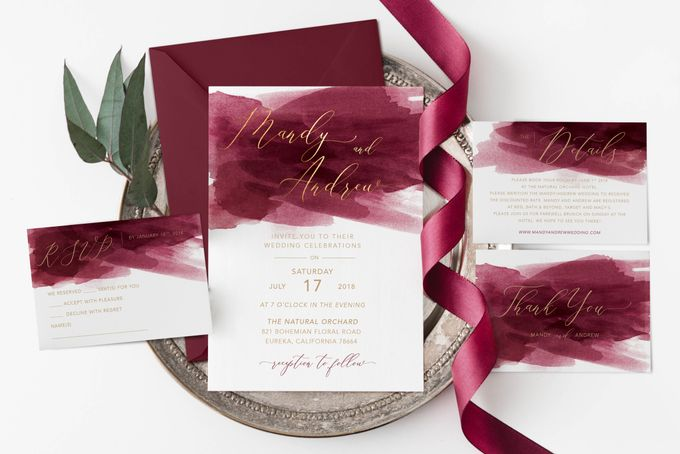 Red Burgundy Watercolor with Champagne Gold by Trouvaille Invitation - 001
