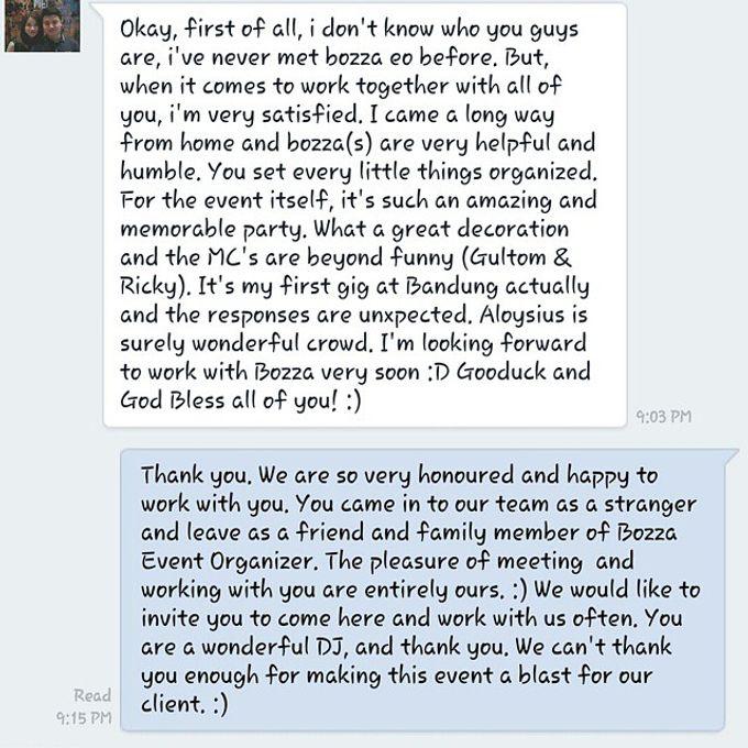 Testimonial by Bozza Event Organizer - 002