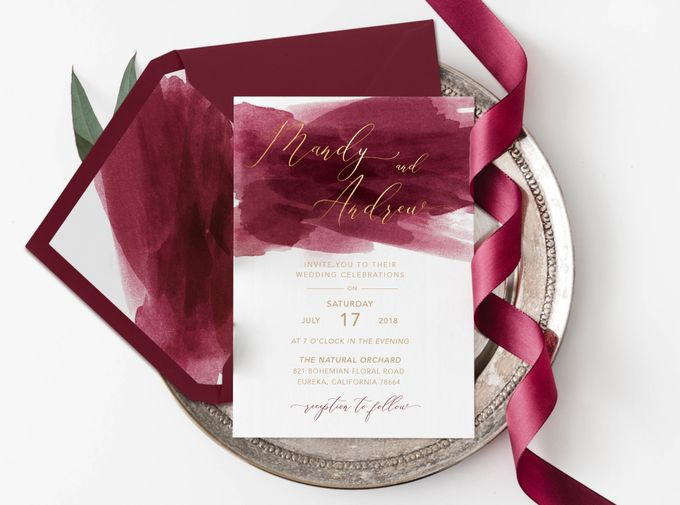 Red Burgundy Watercolor with Champagne Gold by Trouvaille Invitation - 002