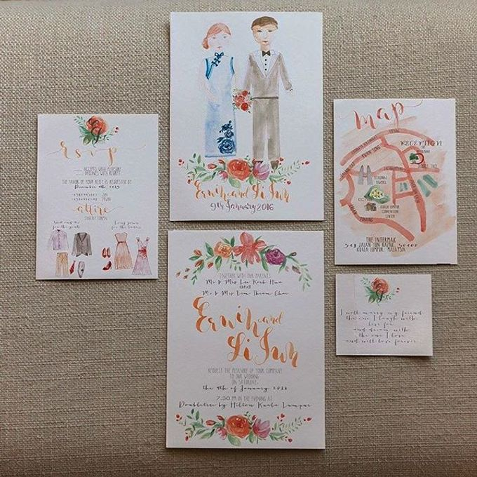 Watercolor and Calligraphy Wedding Invitations by First of April - 003