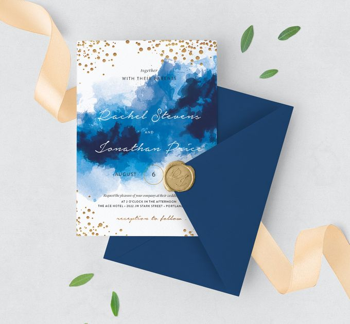 Blue Sparkles Watercolor by Trouvaille Invitation - 001