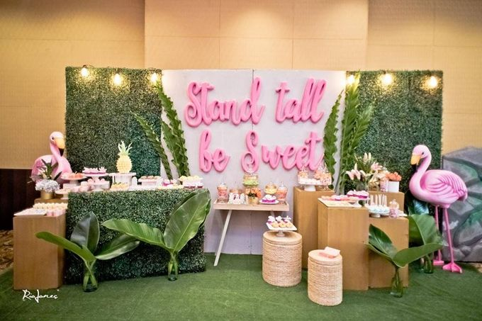 Tropical Flamingo Set up buffet corner by Sweet Nest Events - 013