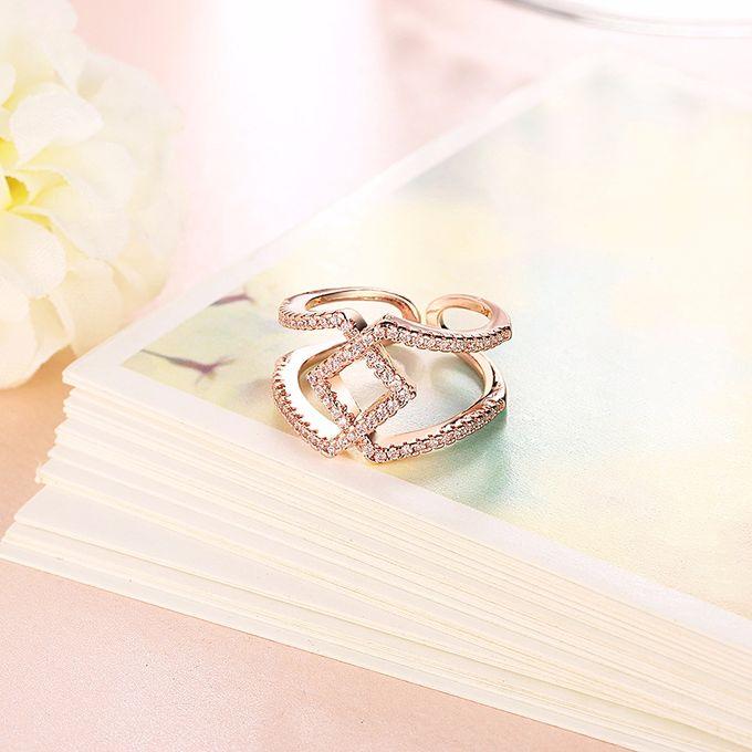 TIARIA Diamond Stack Gold Ring Perhiasan Cincin Emas Berlian by TIARIA - 001