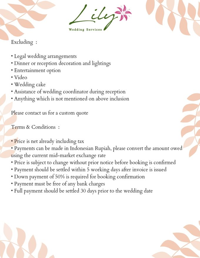 Our Wedding Packages by Lily Wedding Services - 010