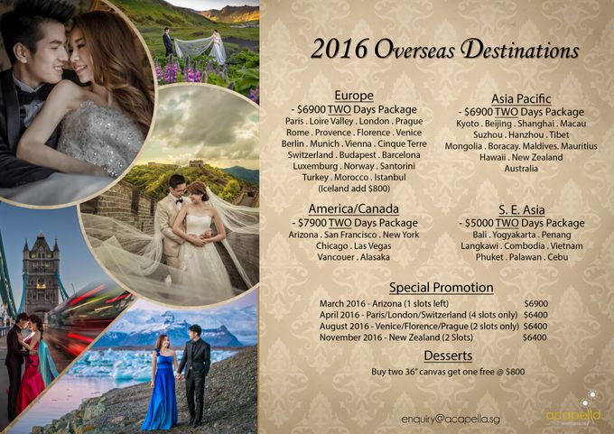 Overseas Pre Wedding Packages 2016 by Acapella Photography - 001