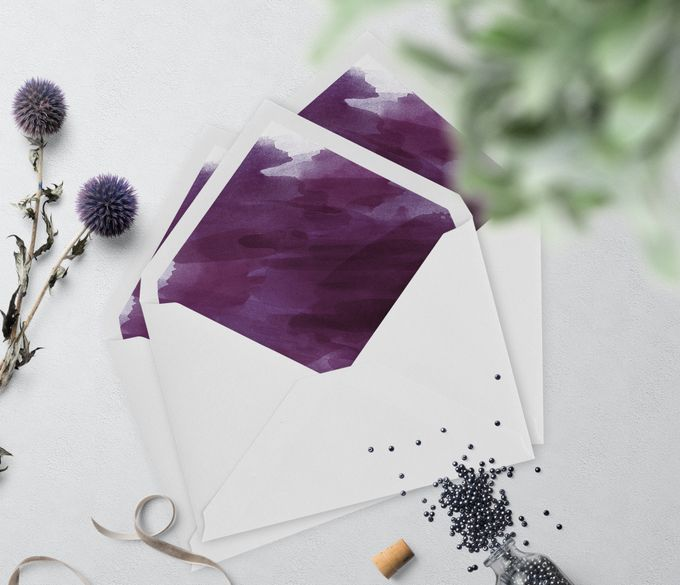 Purple Watercolor by Trouvaille Invitation - 003