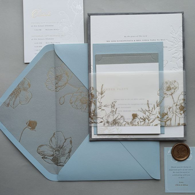 Dusty Blue Flowers by Pensée invitation & stationery - 002